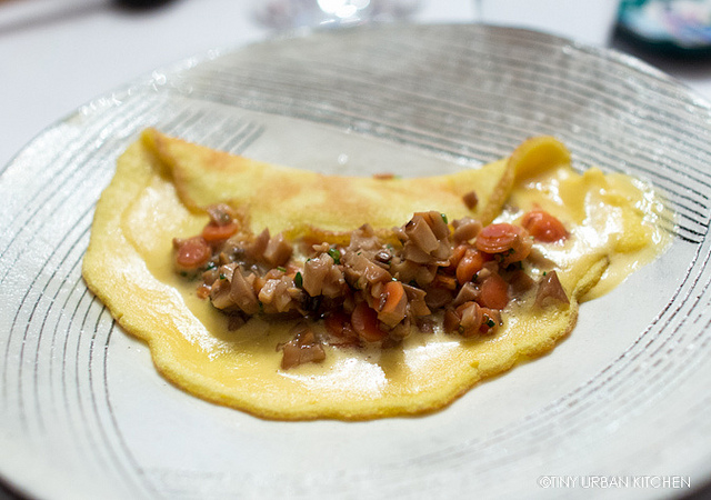 """""""Oyster Omelette"""" - oyster mushrooms, salted oyster root, Sweet Autumn Farm Eggs."""
