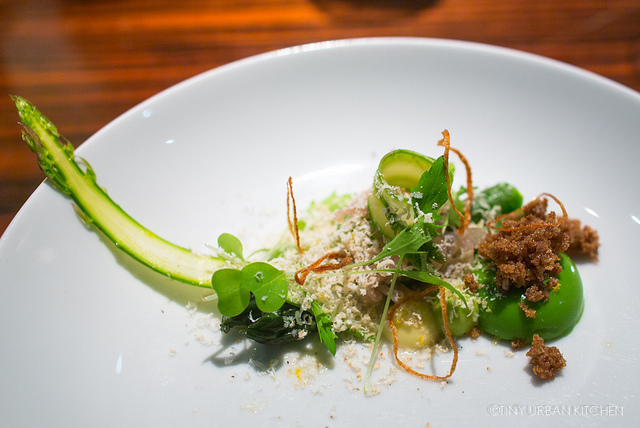 English Asparagus, Grapted Belper Knolle, Mizuna Cream, Lemon Puree, and Crispy Shallots