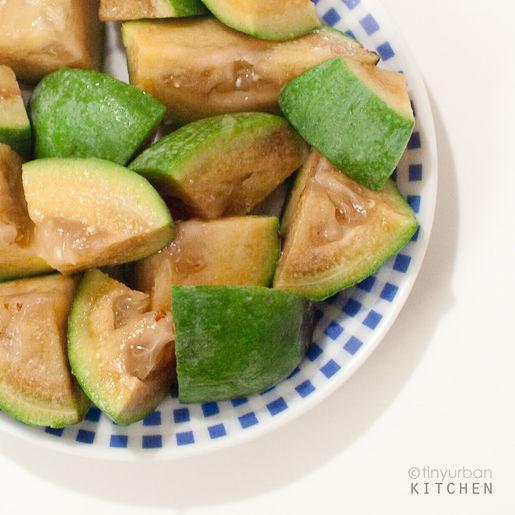 Feijoa (pineapple guava) cut up