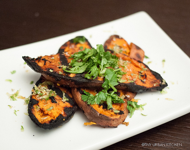 Grilled Sweet Potato with Lime, Chili, Cilantro
