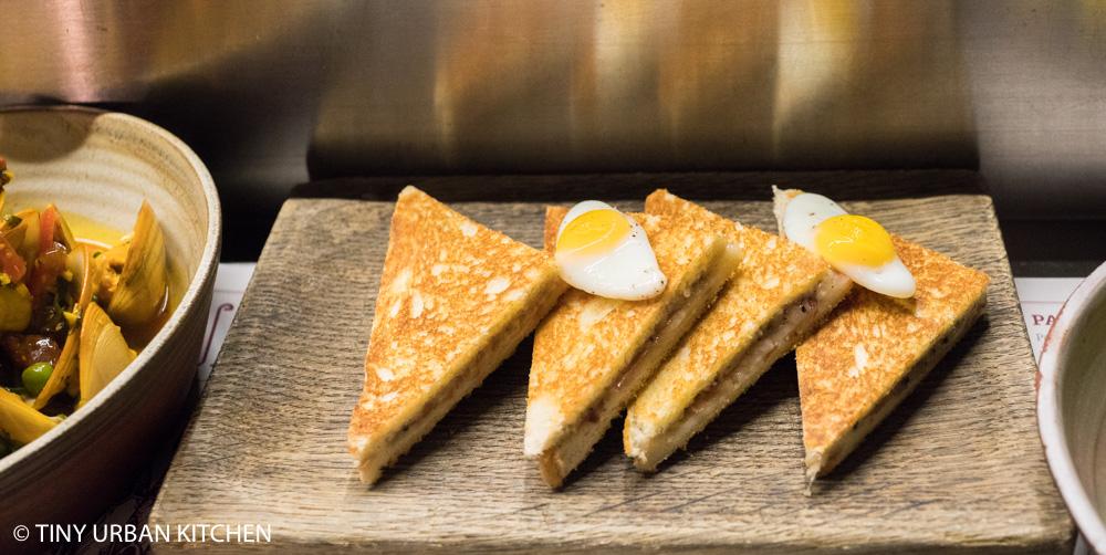 Ham & Sherry: Jamon, manchego, truffle toastie, quail egg ($98)